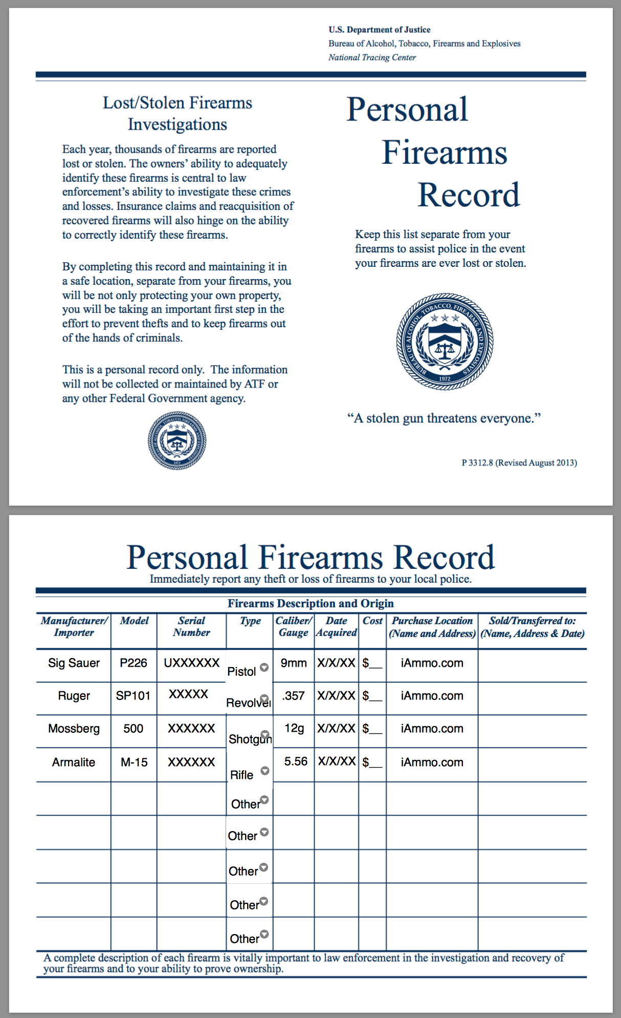 Sample Personal Firearms Record