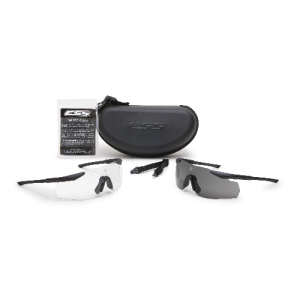 ICE-2X NARO (Small Fit) - Black Frames. Two fully-assembled eyeshields: (1) w/Clear lens & (1) w/Smoke Gray lens. Zippered hard case, no fog cloth & elastic retention strap