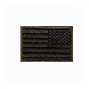 Patch, Subdued Flag, Reversed    Patch, Subdued Flag, Reversed Olive Drab, Black Embroidered with matching border Come with hook & loop for quick on-off capability 2 X 3