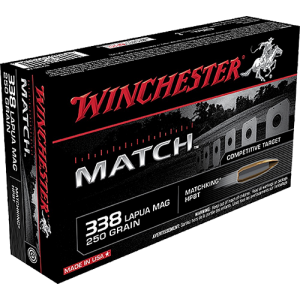Winchester Match .338 Lapua Magnum Boat Tail Hollow Point, 250 Grain (20 Rounds) - S338LM