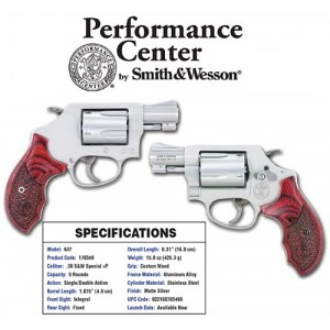 "Smith & Wesson 637 Performance Center .38 Special 5+1 1.875"" Pistol in Matte Silver - 170349"