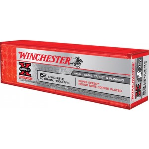 Winchester Super-X .22 Long Rifle Round Nose, 40 Grain (100 Rounds) - X22LRSS1