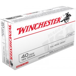 Winchester .40 S&W Full Metal Jacket, 165 Grain (50 Rounds) - USA40SW