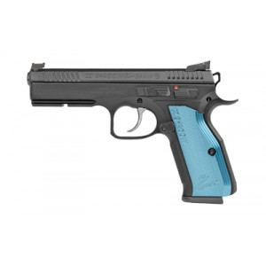 "CZ 75 Shadow II 9mm 17+1 4.8"" Pistol in Black Nitride with Blue Aluminum Grips (Optic Ready) - 91251"
