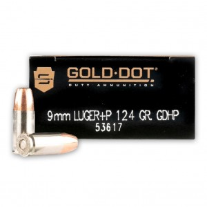 Speer Gold Dot 9mm Hollow Point +P, 124 Grain (50 Rounds) - 53617