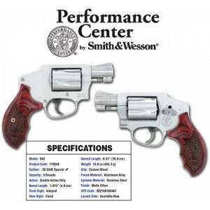 "Smith & Wesson 642 Performance Center .38 Special 5+1 1.875"" Pistol in Matte Silver - 170348"