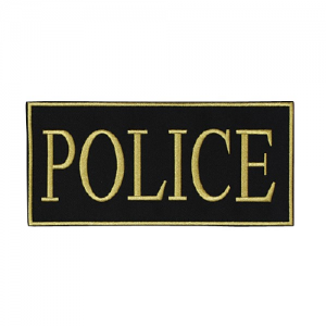 Law Enforcement Patches Color: Yellow 9  x 4 1/8  Patch Logo: Police