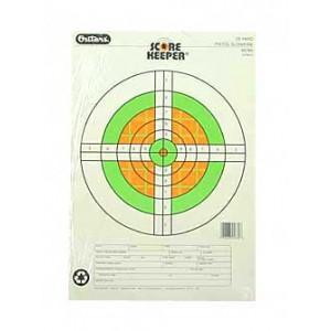 Champion Traps & Targets Fluorescent Orange/green Bullseye Scorekeeper Target, 25 Yard Pistol Slow Fire, 12 Pack 45760