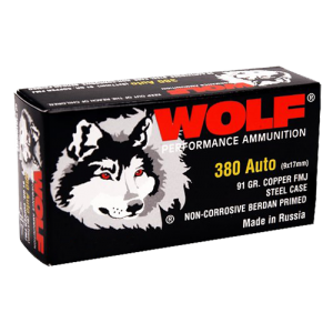 Wolf Performance Ammo Military Classic .380 ACP Full Metal Jacket, 91 Grain (1000 Rounds) - MC917FMJ