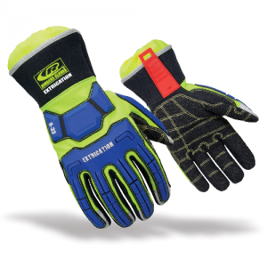 Hybrid Extrication Hi-Vis XL  Hybrid Extrication Glove  Features: ResqLoc Grip System: Flexible, deeply textured, oil-, heat-, and cut-resistant Armortex Kevlar palm, thumb, and fingers; gel-padded and Kevlar stitched thread to provide exceptional protect