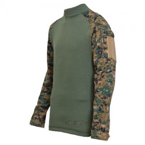 Tru Spec Combat Shirt Men's Long Sleeve Shirt in Woodland Digital/Olive Drab - X-Large