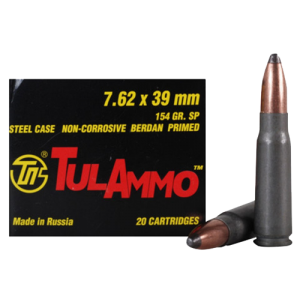 TulAmmo 7.62X39 Soft Point, 154 Grain (20 Rounds) - UL076208