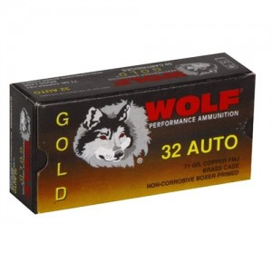 Wolf Performance Ammo Gold .32 ACP Full Metal Jacket, 71 Grain (50 Rounds) - G32FMJ1
