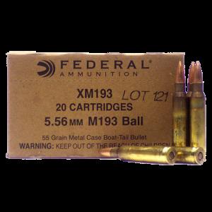 Federal Cartridge XM Bulk 1000 .223 Remington/5.56 NATO Full Metal Jacket Boat Tail, 55 Grain (1000 Rounds) - XM193BK