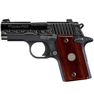 """Sig Sauer P938 Micro-Compact Engraved Rosewood 9mm 6+1 3"""" Pistol in Black Nitron (Rosewood Medallion Inlay Grip) - 9389ESR"""