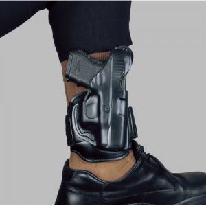 Desantis Gunhide 44 Ankle Rig Left-Hand Ankle Holster for Glock 26 in Black Leather - 044BBE1Z0
