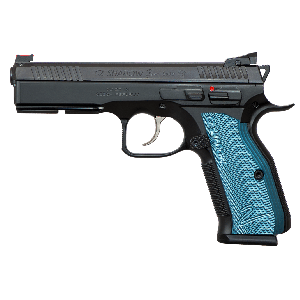 "CZ 75 Shadow II 9mm 17+1 4.8"" Pistol in Black Polycoat (Blue Aluminum Grips) - 91257"