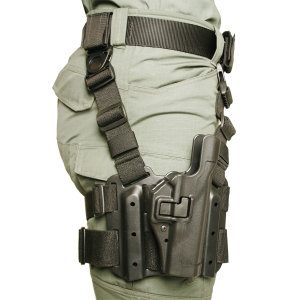 Blackhawk Serpa Level 2 Right-Hand Thigh Holster for Glock 17, 19, 20, 21, 22, 23, 31, 32 in Black - 430500BKR