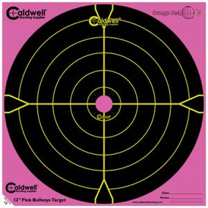 """Caldwell 317-536 Orange Peel Targets Bullseye 12"""" Pink/Black 5 Pack"""