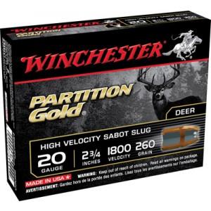 """Winchester Supreme Partition Gold .20 Gauge (2.75"""") Slug (Sabot) Lead (5-Rounds) - SSP20"""