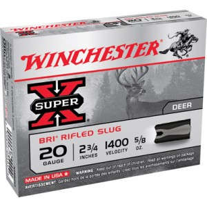 "Winchester Super-X BRI .20 Gauge (2.75"") Slug (Rifled) Lead (5-Rounds) - XRS20"