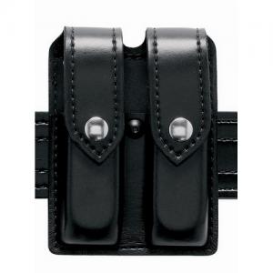 Boston Leather Stitched Edge Garrison Belt in Black Plain