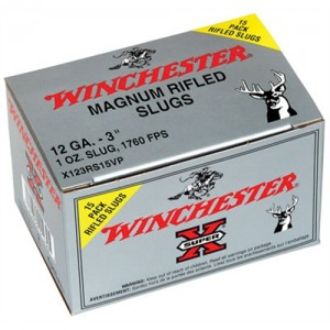"Winchester Super-X .12 Gauge (3"") Slug (Rifled) Lead (15-Rounds) - X123RS15VP"