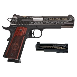 "Sig Sauer 1911 Full Size Texas Gold .45 ACP 8+1 5"" 1911 in Black Nitron (Redwood Grip) - 191145TXG"
