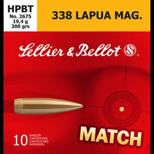 Magtech Ammunition Match Grade .338 Lapua Magnum Boat Tail Hollow Point, 300 Grain (10 Rounds) - SB338LMB