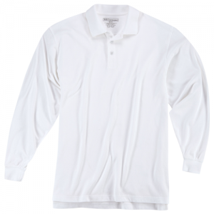 5.11 Tactical Utility Men's Long Sleeve Polo in White - X-Small