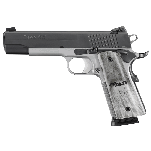 """Sig Sauer 1911 Full Size TTT CA Compliant .45 ACP 8+1 5"""" 1911 in Two Tone Stainless Steel (Burled Maple Wood Grip) - 191145TTTCA"""