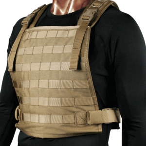 STRIKE Plate Carrier Harness  S.T.R.I.K.E. Plate Carrier Harness, Coyote Tan, Patent #D488,290, Heavy-duty hook & loop flap on both the front and back of this harness open to hold  ballistic plates up to 10  x 12 , MOLLE webbing over the entire harness fo