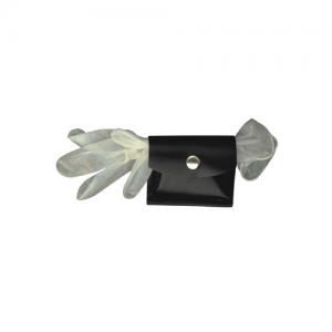 Boston Leather Rubber Glove/CPR Shield Pouch Glove/Shield Pouch in Black Basket Weave - 56403
