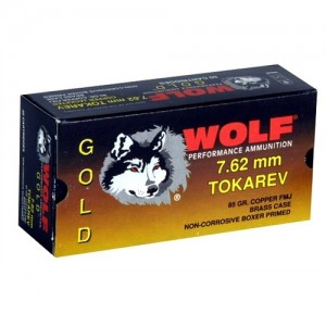 Wolf Performance Ammo Gold 7.62X25 Tokarev Full Metal Jacket, 85 Grain (50 Rounds) - G762TOKFMJ1