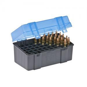 Large Rifle Ammo Case holds 50 rounds of .378 Wby. Mag, .375-300 Rem Ultra Mag, .28 Rem, and .25-06 Rem Caliber Bullets