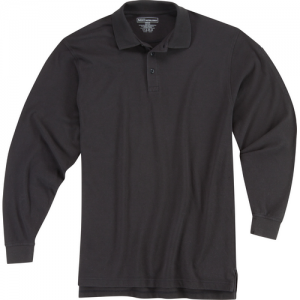 5.11 Tactical Utility Men's Long Sleeve Polo in Black - Small