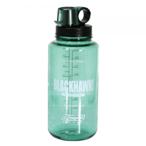NALGENE BOTTLE GREEN  BlackHawk Nalgene Bottle-Sage Green Sage Green BLACKHAWK! has partnered with Nalgene to make a bottle that combines the popular features of a 32 oz polycarbonate bottle with convenient one handed drinking. Large cap can be removed fo