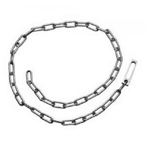 S&W 1840 Chain Restraint Belt area 60  stainless steel chain, and large steel link that accommodates standard and oversized handcuffs. Restraint chain can be used with a Blue or Black Box with a padlock, or insert link through one of the chain links to cr
