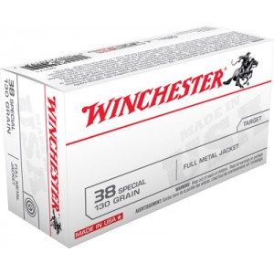Winchester .38 Special Full Metal Jacket, 130 Grain (50 Rounds) - Q4171