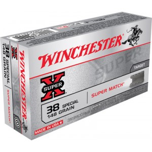 Winchester Super-X .38 Special Lead Wadcutter, 148 Grain (50 Rounds) - X38SMRP