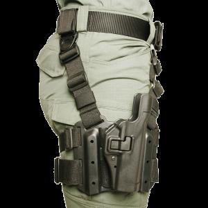 "Blackhawk Serpa Level 2 Right-Hand Thigh Holster for Beretta 92, 96 in Black (5"") - 430504BKR"
