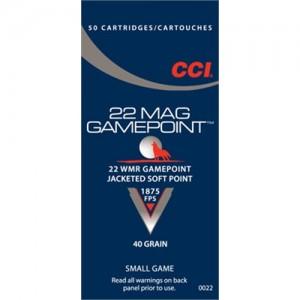 CCI 22 Winchester Magnum Rimfire 40 Grain Lead Gamepoint, 40 Round Box, 0022