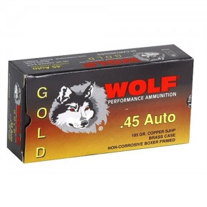 Wolf Performance Ammo Gold .45 ACP Semi Jacketed Hollow Point, 185 Grain (50 Rounds) - G45HP1