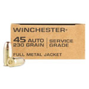 Winchester Ammunition Military Service Grade .45 ACP Full Metal Jacket, 230 Grain (50 Rounds) - SG45W