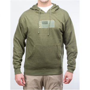 5.11 Tactical Embroidered Flag Men's Pullover Hoodie in Fatigue - Large