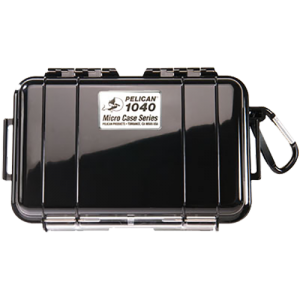 """Pelican 1040 Micro Case 6x3x1"""" Watertight Clear Poly w/Black Rubber Liner"""