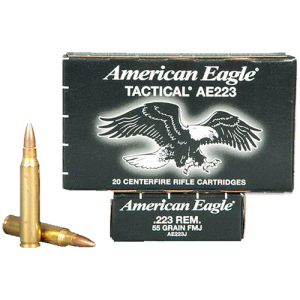 Federal Cartridge American Eagle Target .223 Remington/5.56 NATO Full Metal Jacket Boat Tail, 55 Grain (20 Rounds) - AE223JLC