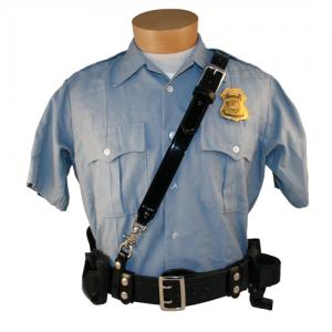 Sam Browne Shoulder Strap W/ D Rings Color: Black Finish: Plain Hardware: Nickel Size: Regular - 6511-1