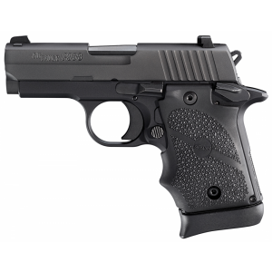 """Sig Sauer P938 Micro-Compact 9mm 6+1 3"""" Pistol in Black Nitron (Hogue Rubber Finger Groove Grip) - 9389BRGAMBI"""
