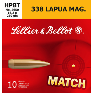 Magtech Ammunition Match Grade .338 Lapua Magnum Boat Tail Hollow Point, 250 Grain (10 Rounds) - SB338LMA